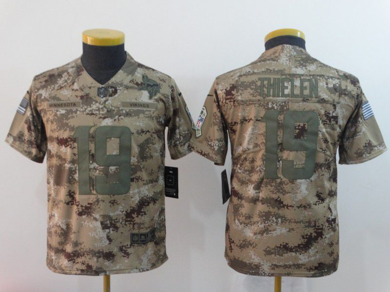 Youth Minnesota Vikings 19 Thielen Nike Camo Salute to Service Limited NFL Jersey
