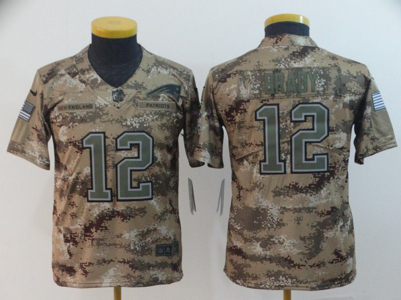 Youth New England Patriots 12 Braby Nike Camo Salute to Service Limited NFL Jersey