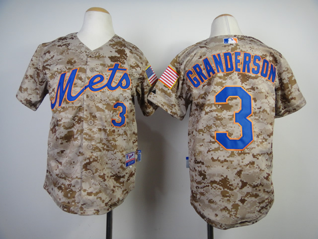Youth New York Mets 3 Granderson Camo MLB Jerseys