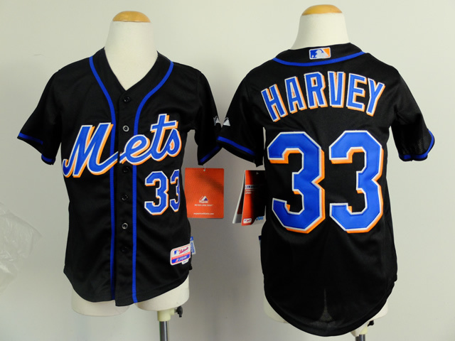 Youth New York Mets 33 Harvey Black MLB Jerseys