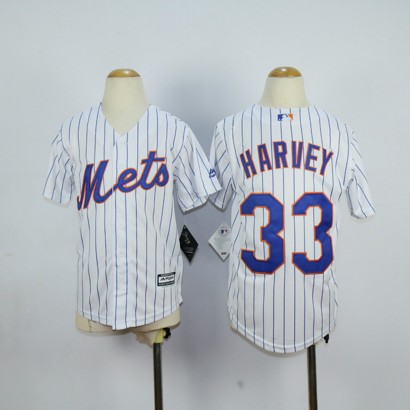 Youth New York Mets 33 Harvey White MLB Jerseys