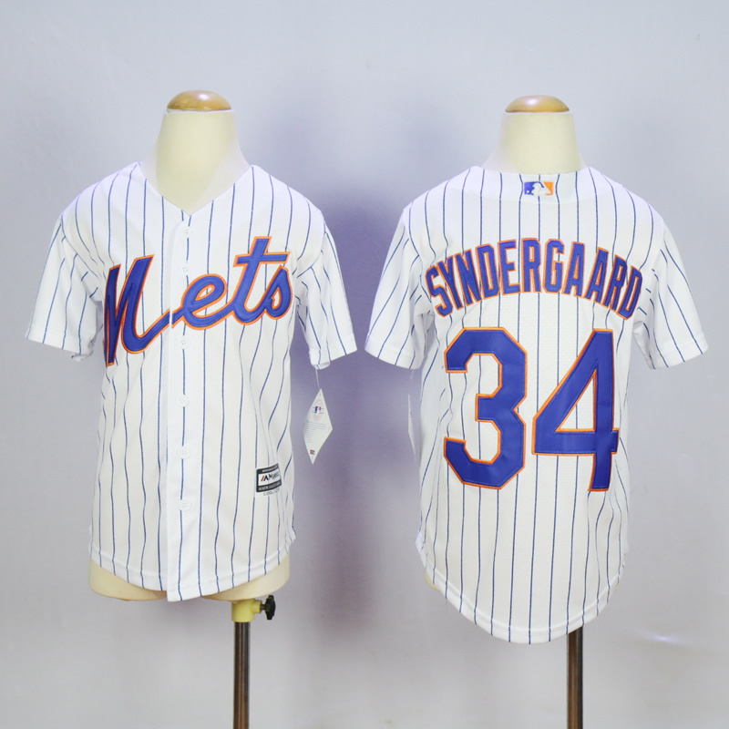Youth New York Mets 34 Syndergaard White MLB Jerseys