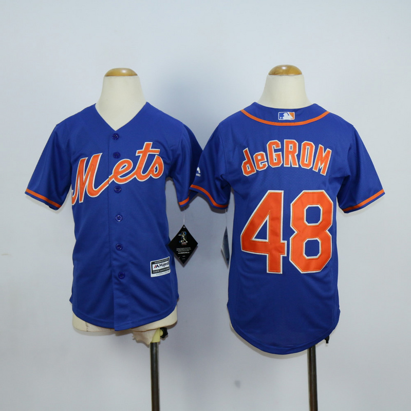 Youth New York Mets 48 Degrom Blue MLB Jerseys
