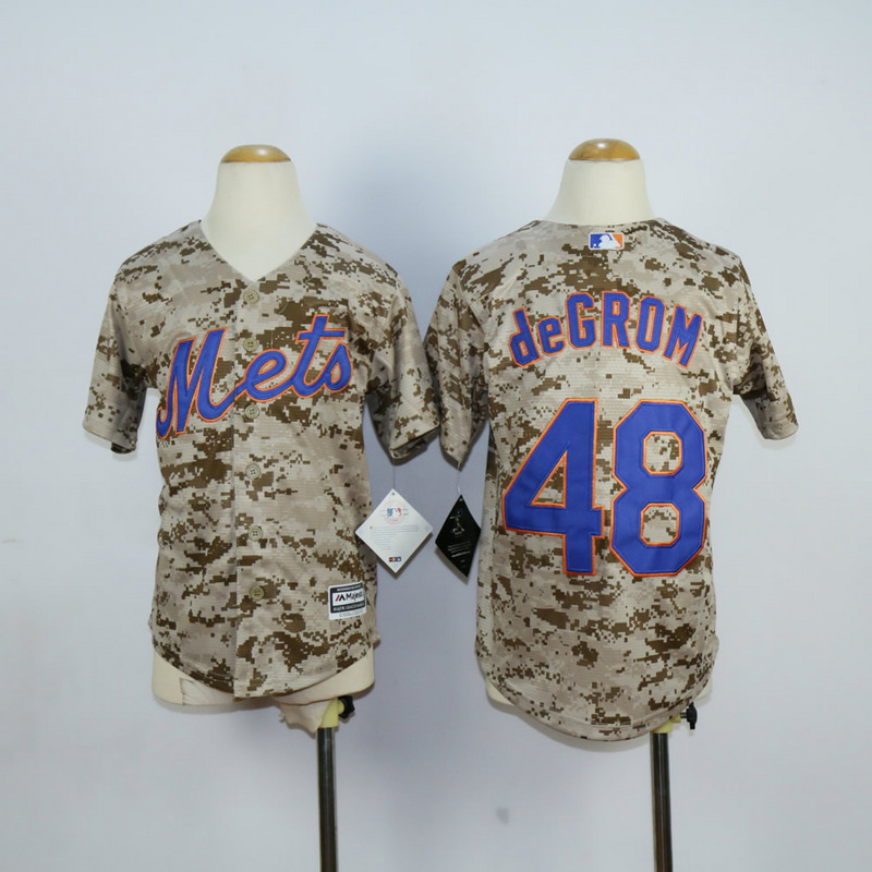 Youth New York Mets 48 Degrom Camo MLB Jerseys