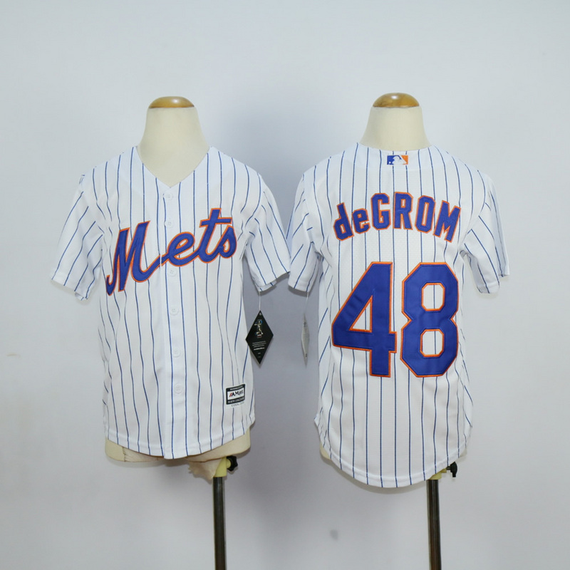 Youth New York Mets 48 Degrom White MLB Jerseys