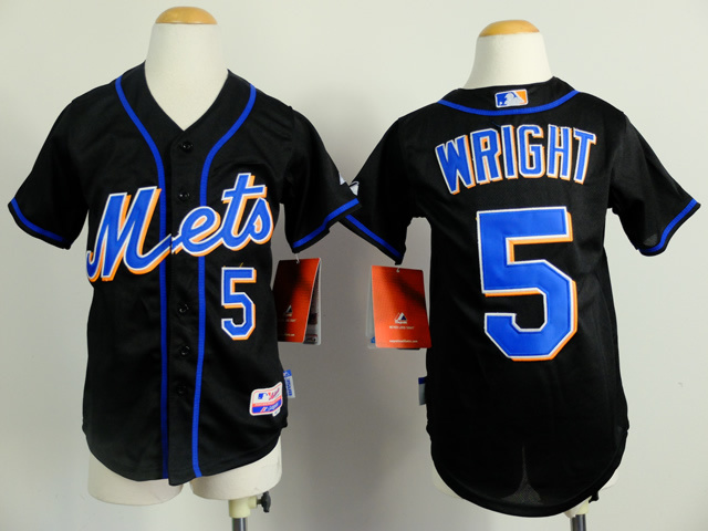 Youth New York Mets 5 Wright Black MLB Jerseys