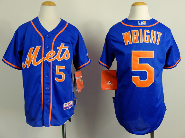 Youth New York Mets 5 Wright Blue MLB Jerseys