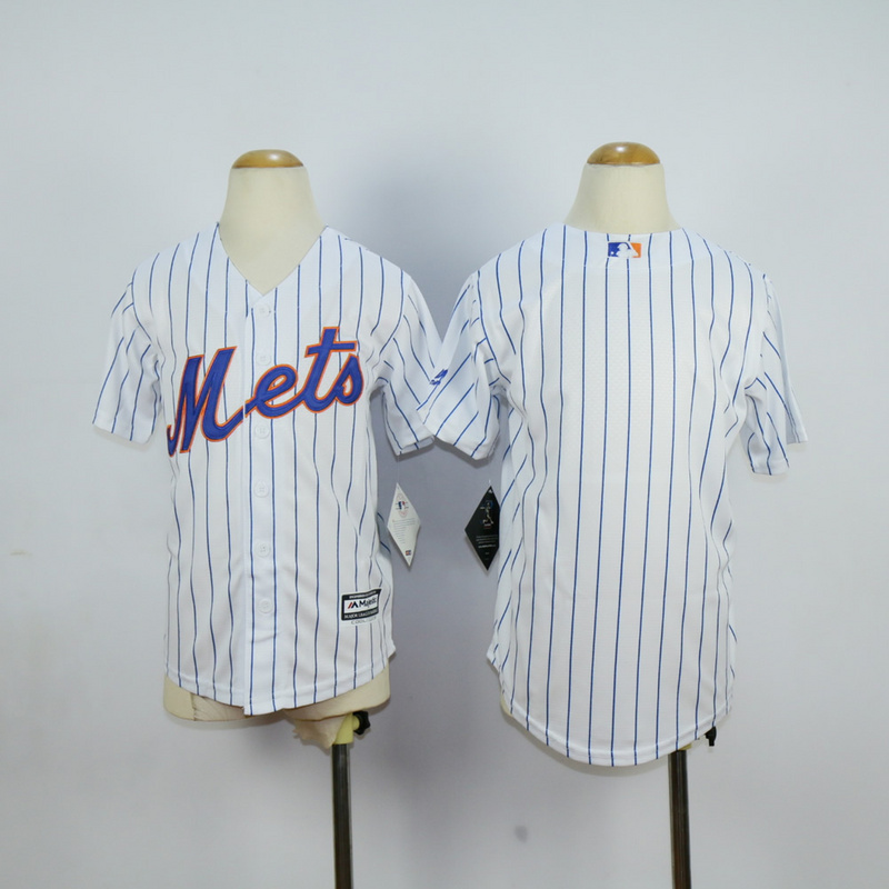 Youth New York Mets Blank White Stripe MLB Jerseys