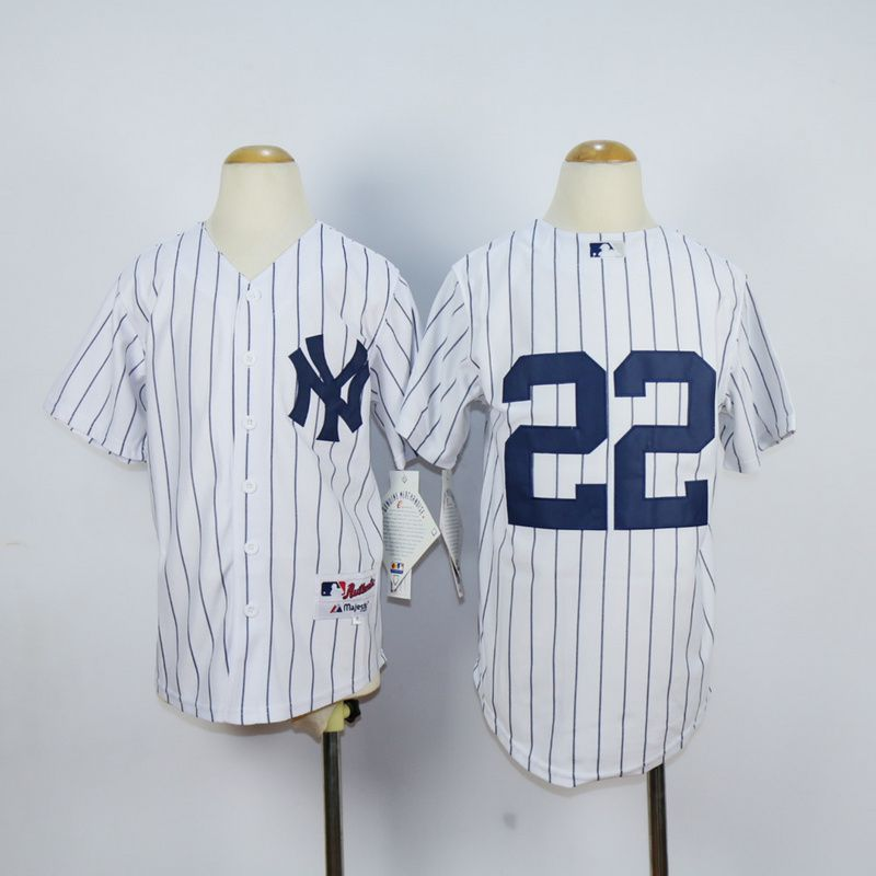 Youth New York Yankees 22 No name White MLB Jerseys