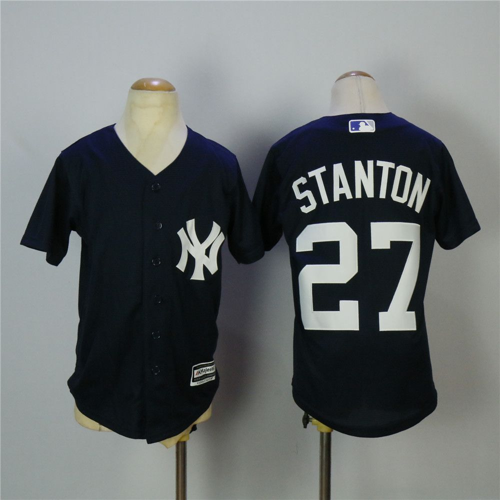 Youth New York Yankees 27 Stanton Blue MLB Jerseys
