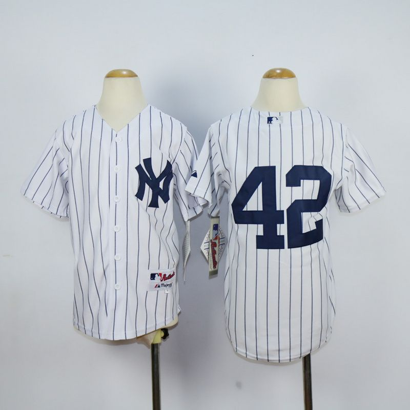 Youth New York Yankees 42 Rivera White MLB Jerseys