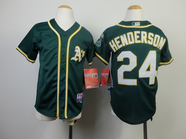 Youth Oakland Athletics 24 Henderson Green MLB Jerseys