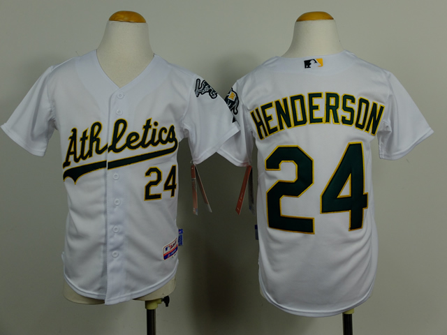Youth Oakland Athletics 24 Henderson White MLB Jerseys