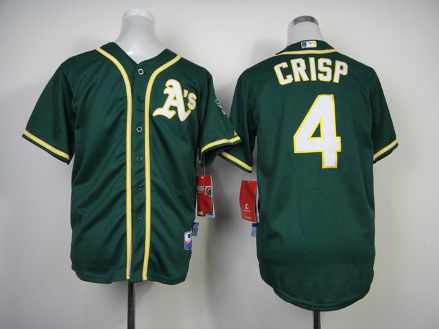 Youth Oakland Athletics 4 Crisp Green MLB Jerseys