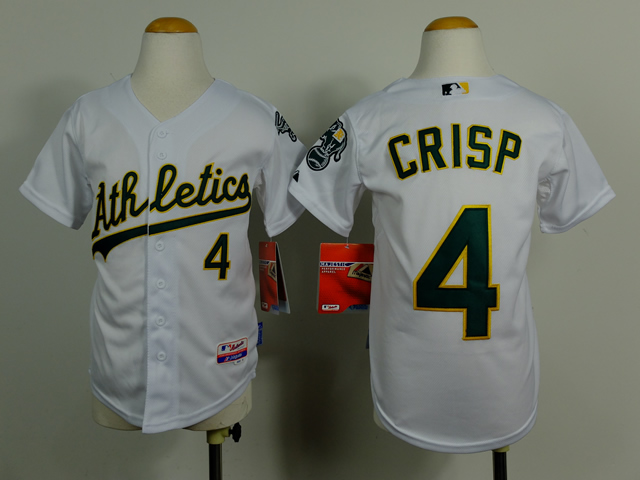 Youth Oakland Athletics 4 Crisp White MLB Jerseys