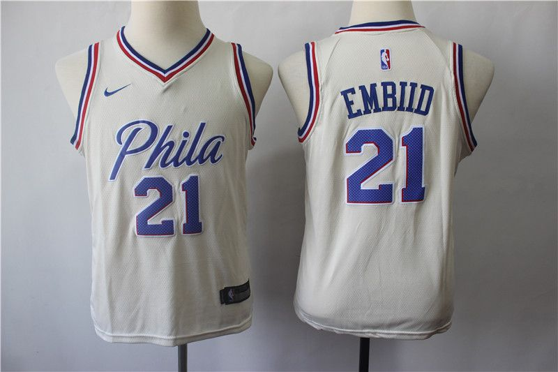 Youth Philadelphia 76ers 21 Embiid Cream City Edition Nike NBA Jerseys