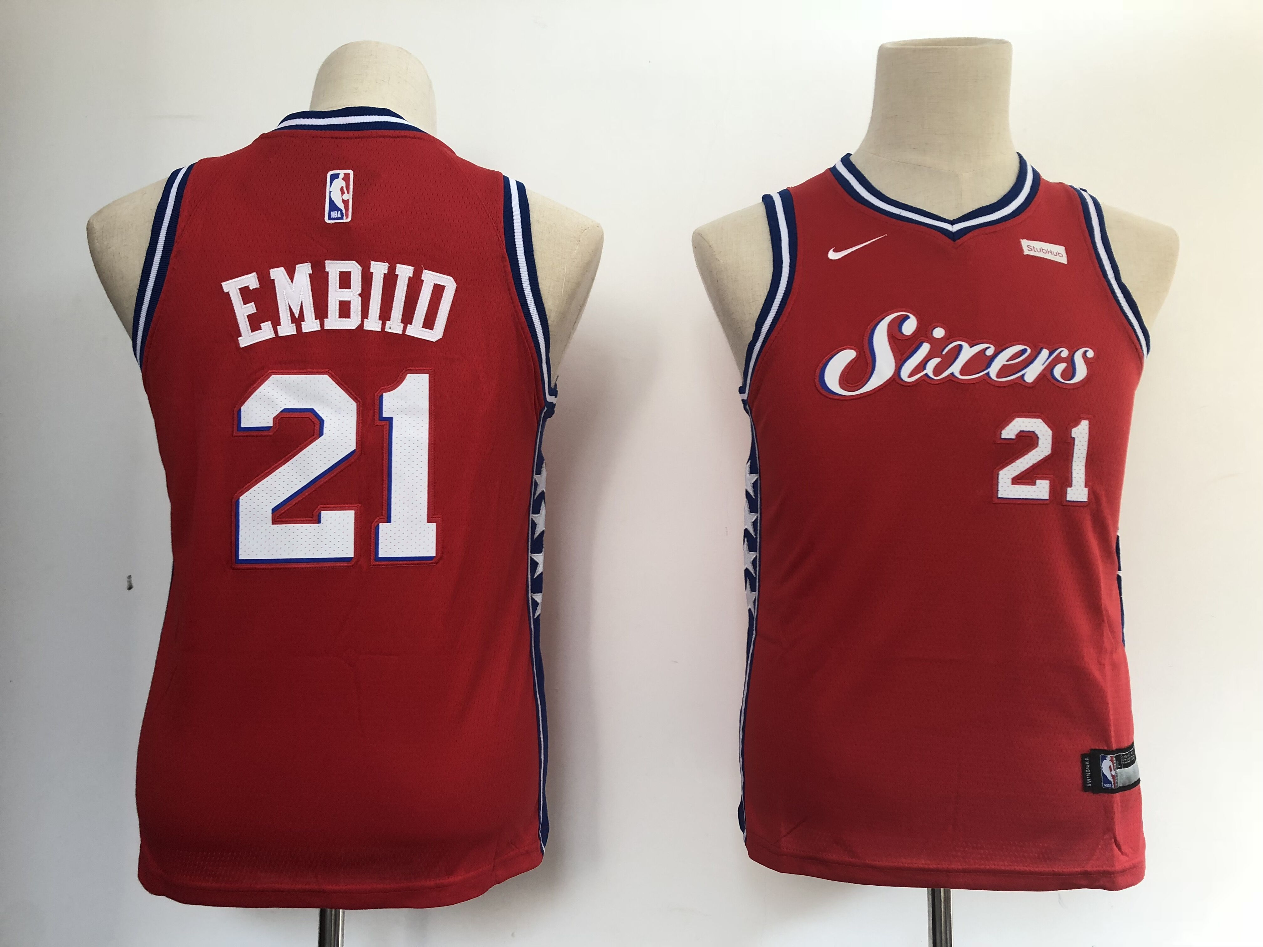 Youth Philadelphia 76ers 21 Embiid Red Nike NBA Jerseys