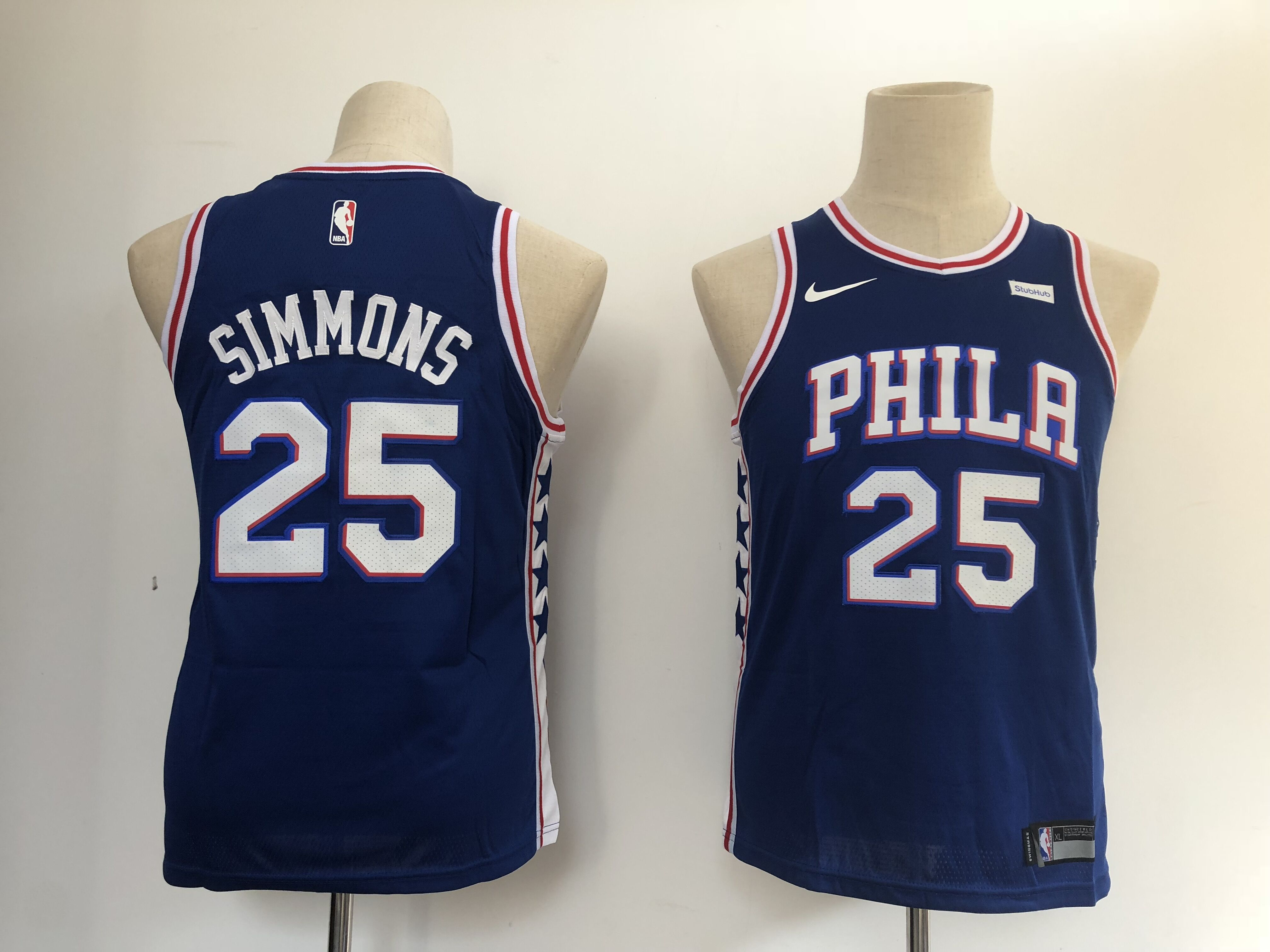 Youth Philadelphia 76ers 25 Simmons Blue Nike NBA Jerseys