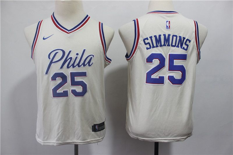 Youth Philadelphia 76ers 25 Simmons Cream City Edition Nike NBA Jerseys