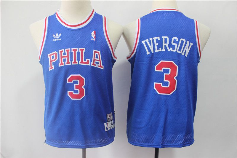 Youth Philadelphia 76ers 3 Iverson Blue Adidas NBA Jerseys
