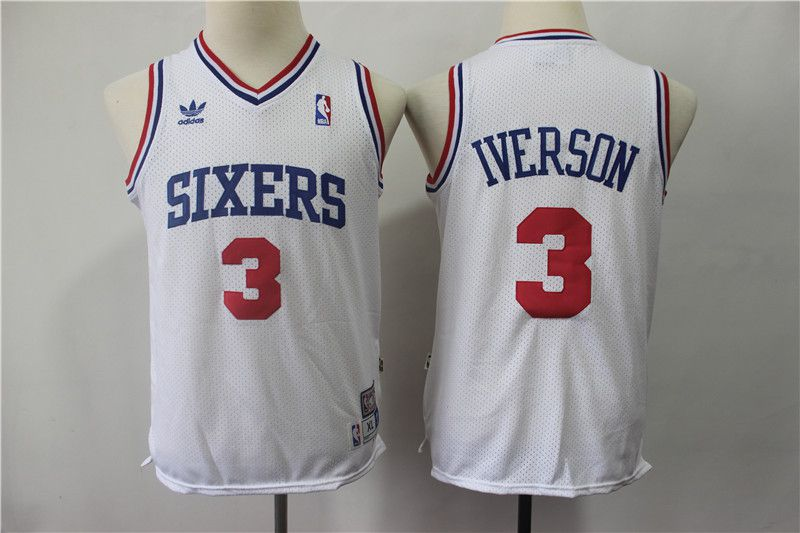 Youth Philadelphia 76ers 3 Iverson White Adidas NBA Jerseys