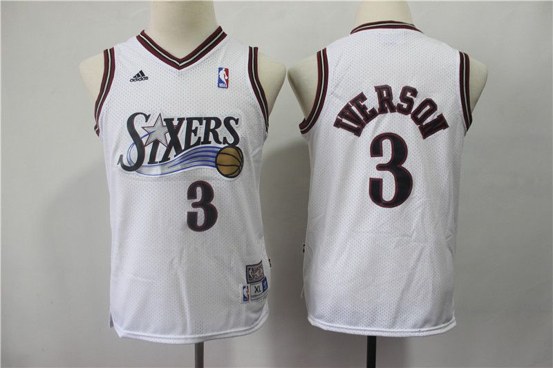 Youth Philadelphia 76ers 3 Iverson White Adidas NBA Jerseys1