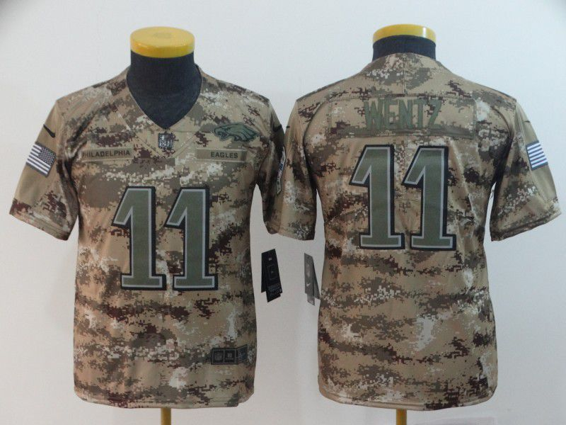 Youth Philadelphia Eagles 11 Wentz Nike Camo Salute to Service Limited NFL Jersey