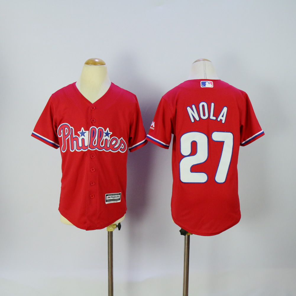 Youth Philadelphia Phillies 27 Nola Red MLB Jerseys