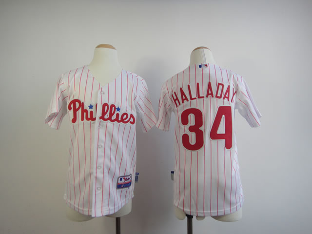 Youth Philadelphia Phillies 34 Halladay White MLB Jerseys