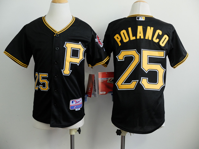Youth Pittsburgh Pirates 25 Polanco Black MLB Jerseys