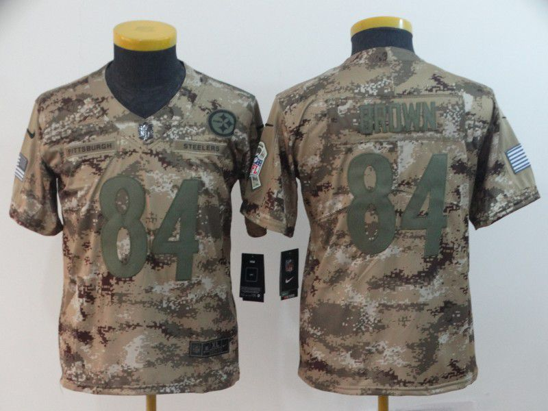 Youth Pittsburgh Steelers 84 Brown Nike Camo Salute to Service Limited NFL Jersey