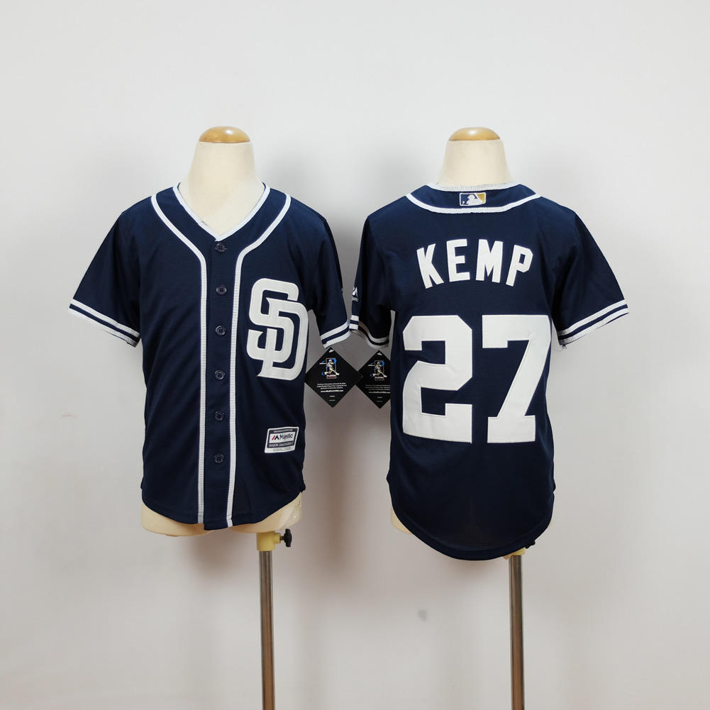 Youth San Diego Padres 27 Kemp Blue MLB Jerseys