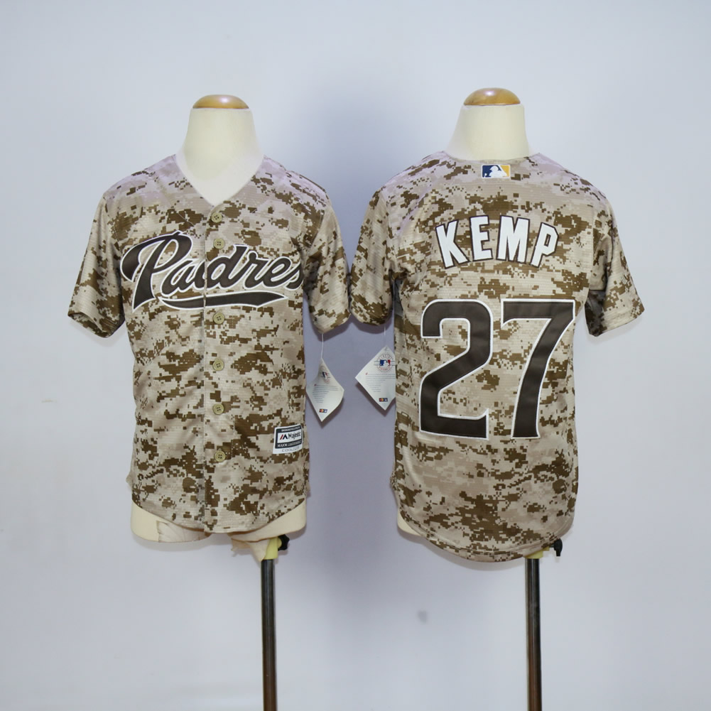 Youth San Diego Padres 27 Kemp Camo MLB Jerseys
