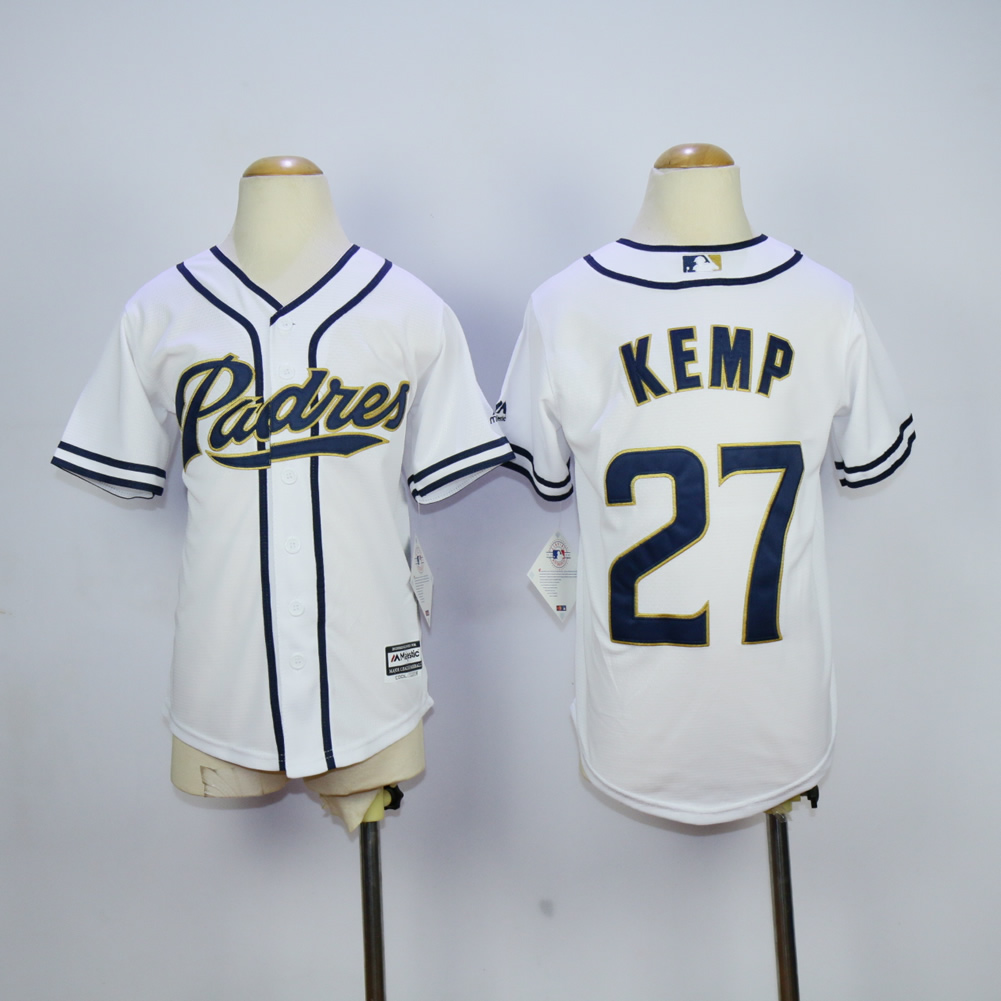 Youth San Diego Padres 27 Kemp White MLB Jerseys