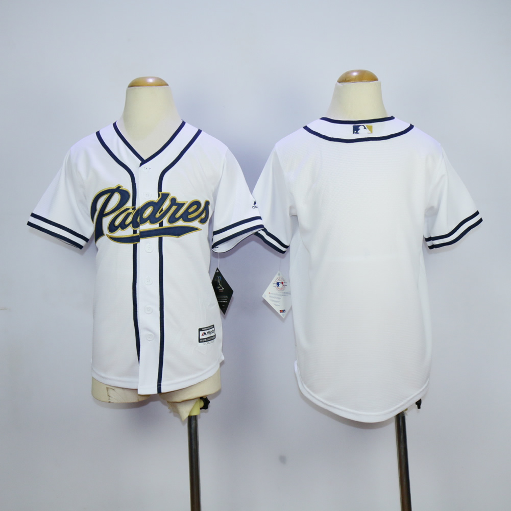Youth San Diego Padres Blank White MLB Jerseys