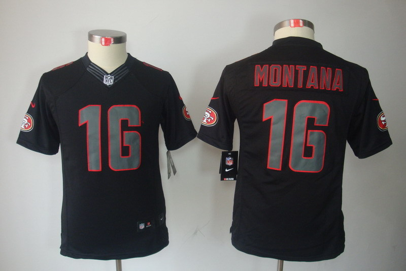 Youth San Francisco 49ers 16 montana black NFL Nike Jerseys