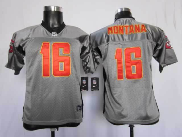 Youth San Francisco 49ers 16 montana grey Nike NFL jerseys