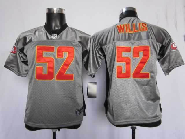 Youth San Francisco 49ers 52 Willis grey style2 NFL Nike Jerseys
