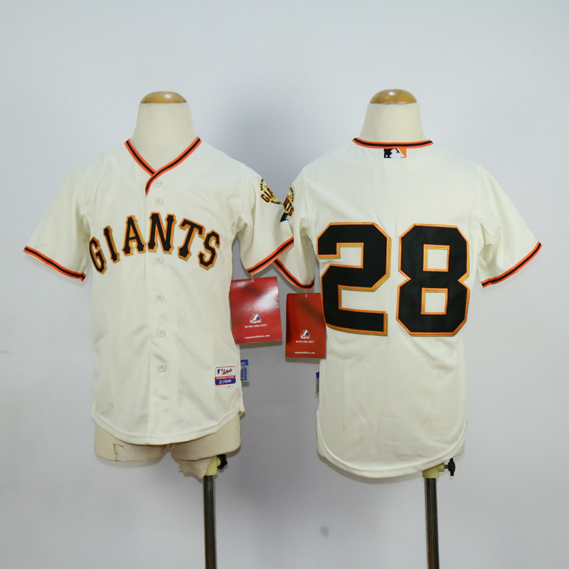 Youth San Francisco Giants 28 No name Cream MLB Jerseys