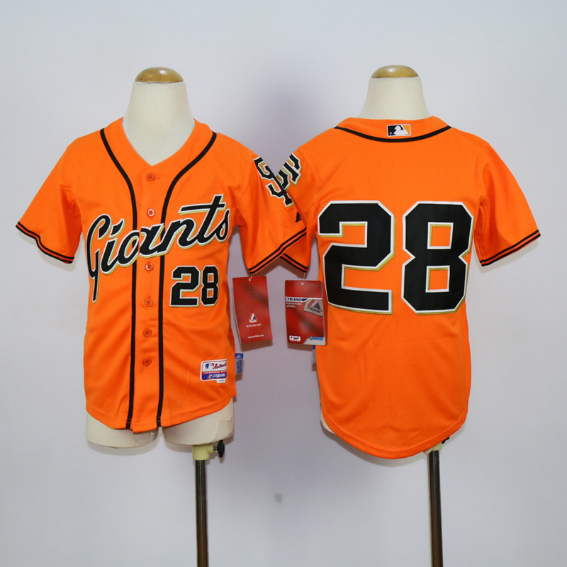 Youth San Francisco Giants 28 Posey Orange MLB Jerseys