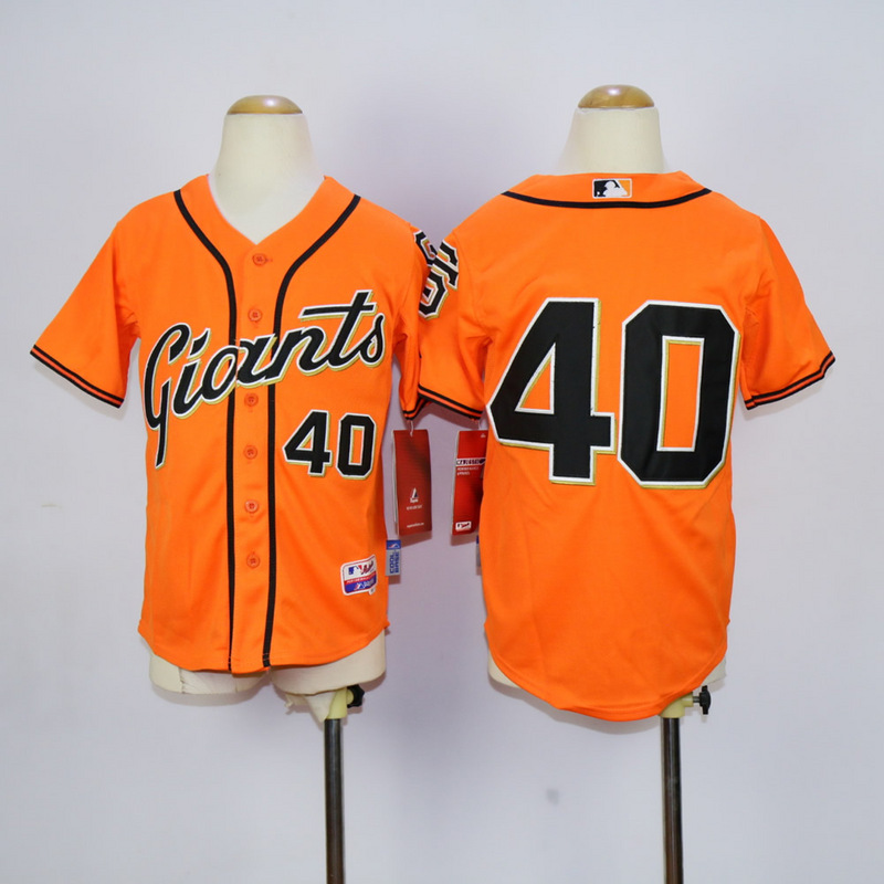 Youth San Francisco Giants 40 Bumgarner Orange MLB Jerseys