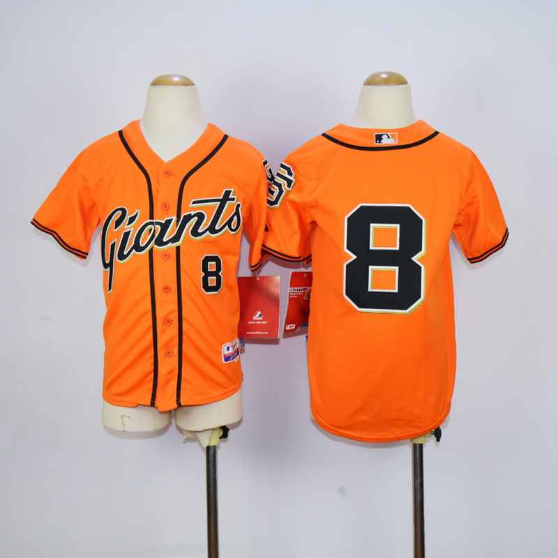 Youth San Francisco Giants 8 Pence Orange MLB Jerseys