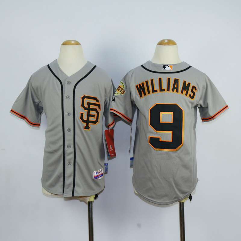 Youth San Francisco Giants 9 Williams Grey MLB Jerseys
