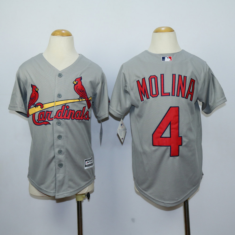 Youth St. Louis Cardinals 4 Molina Grey MLB Jerseys