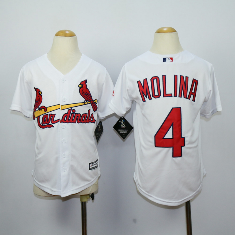 Youth St. Louis Cardinals 4 Molina White MLB Jerseys