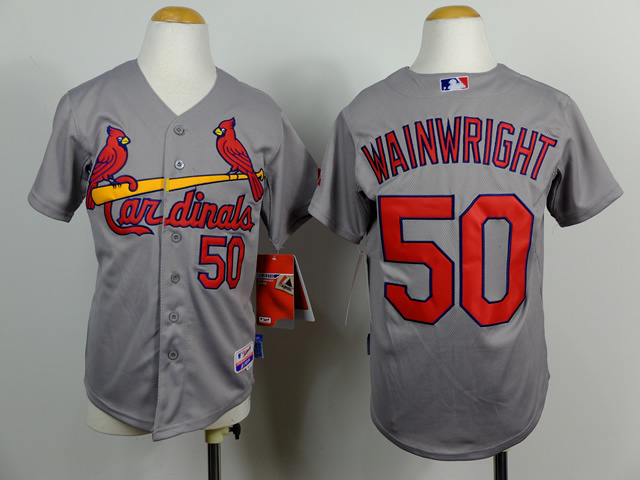Youth St. Louis Cardinals 50 Wainwright Grey MLB Jerseys