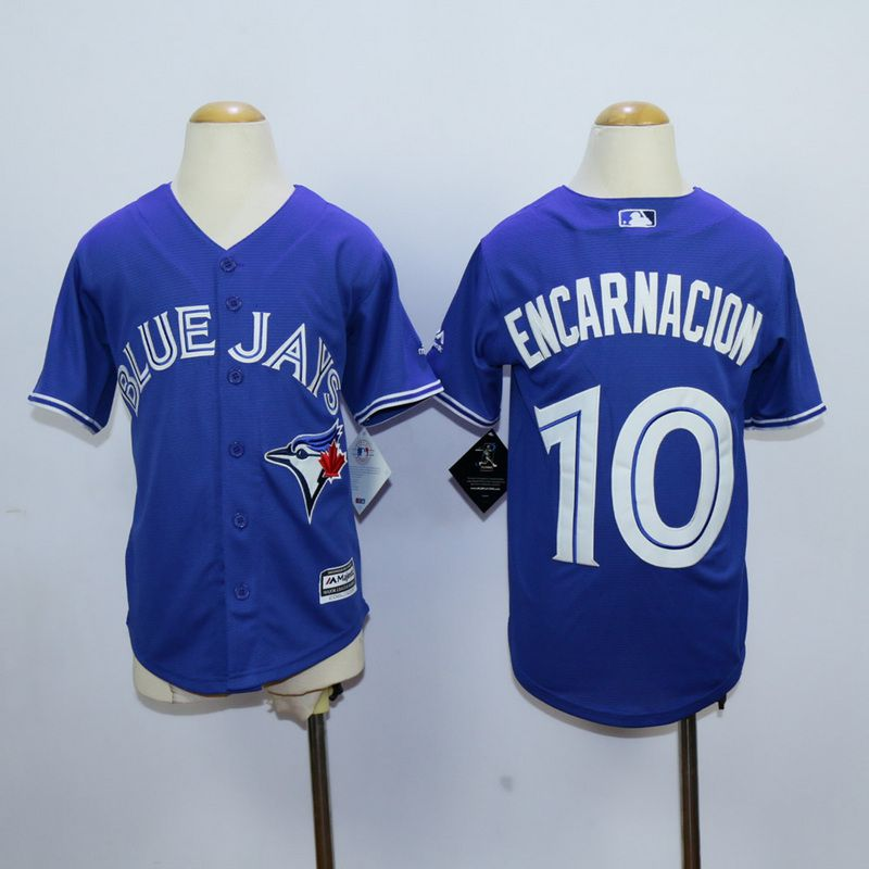 Youth Toronto Blue Jays 10 Encarnacion Blue MLB Jerseys