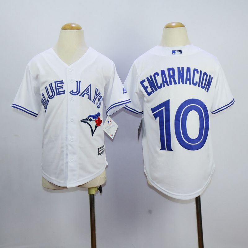 Youth Toronto Blue Jays 10 Encarnacion White MLB Jerseys