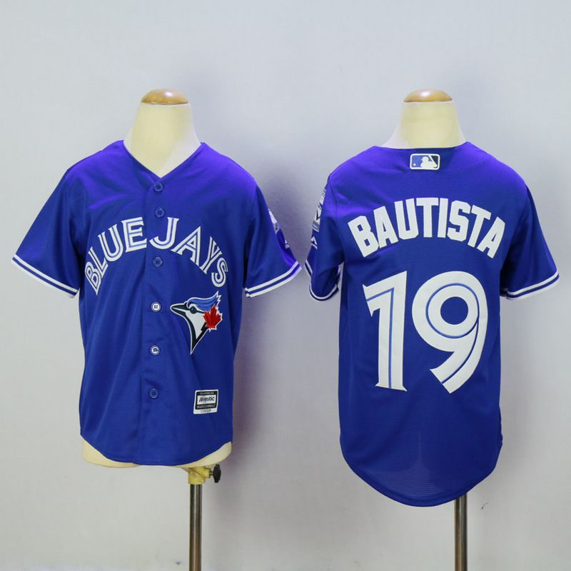 Youth Toronto Blue Jays 19 Bautista Blue MLB Jerseys