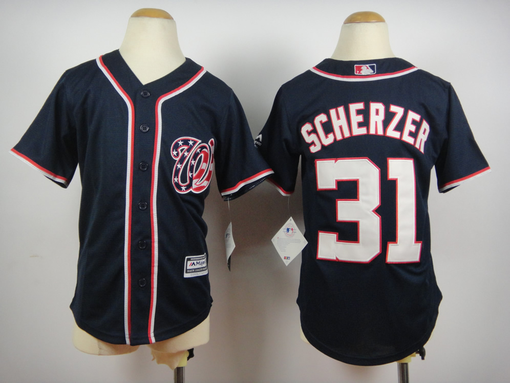 Youth Washington Nationals 31 Scherzer Blue MLB Jerseys